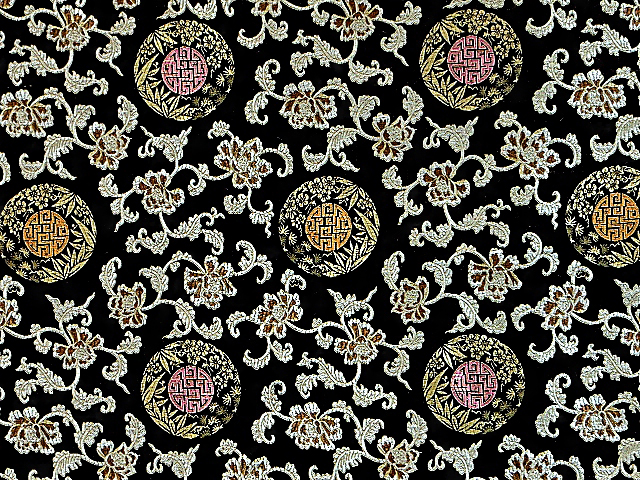 Black Oriental Brocade Fabric