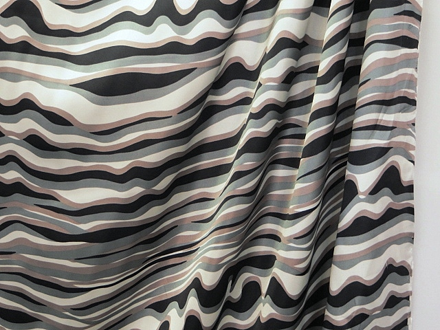 Swirl Striped Satin Fabric