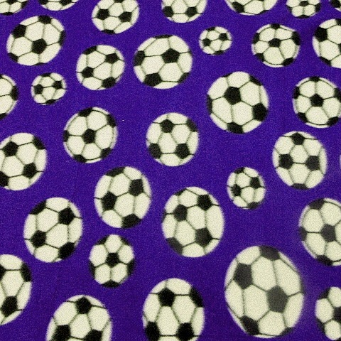 Purple Soccer ball fleece fabric