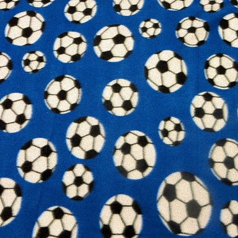 Blue Soccer Ball Fleece Fabric