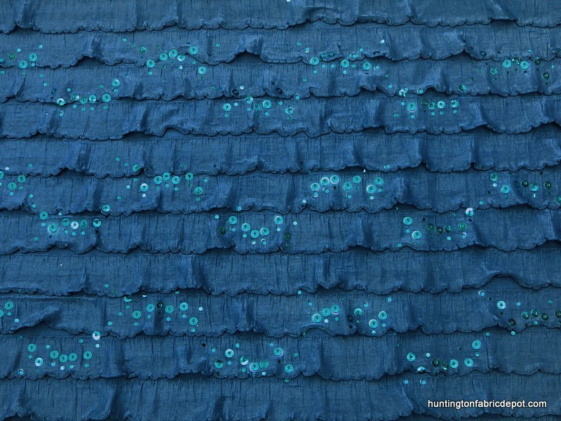 Blue Ruffle Knit Fabric with Sequins