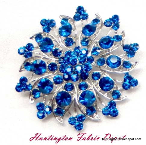 Brilliant Capri Blue(Royal Blue)Rhinestone Brooch