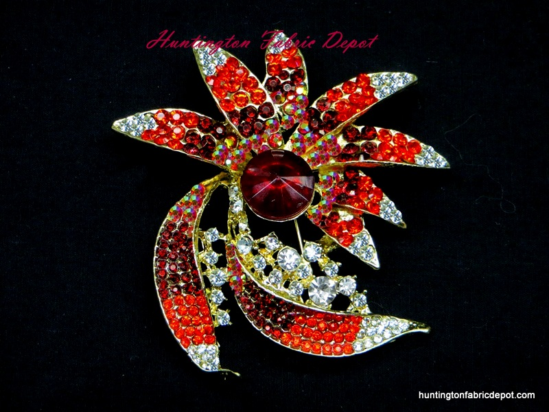 Brilliant Clear and Siam(Red) Stones Brooch Pin