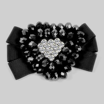 Black Rhinestone and Beaded Heart Brooch