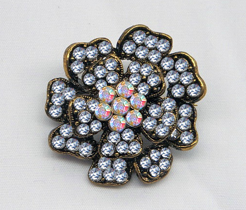 Brilliant Antique Gold Rhinestone Brooch