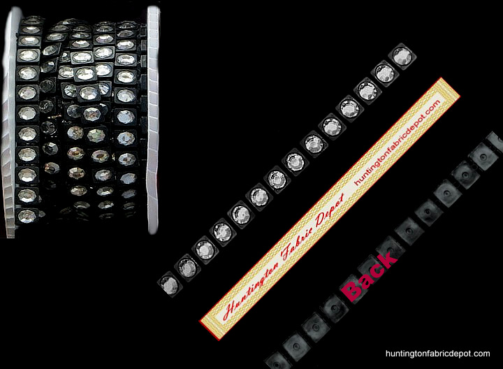 One Row Clear/Black Acrylic Rhinestones Trim