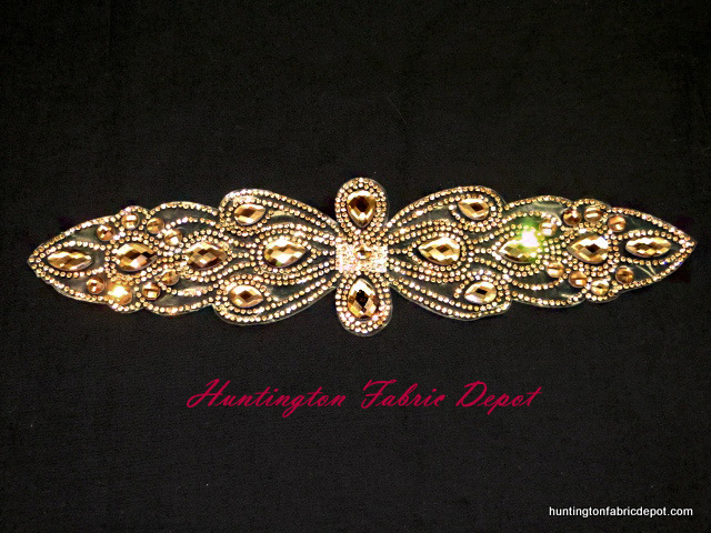 11-inch Iron-on Light Brown/Dark Gold Rhinestone Applique
