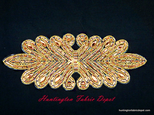 9.5 inch Iron-on Light Brown/Dark Gold Rhinestone Applique