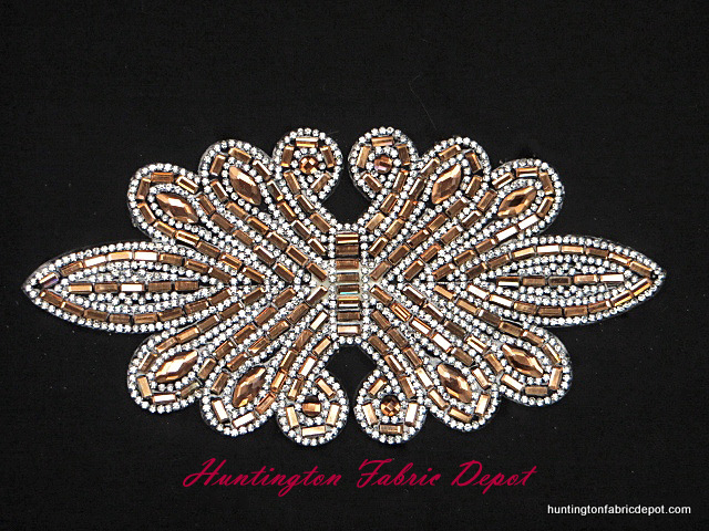 7.5 inch iron on light brown and clear rhinestone applique