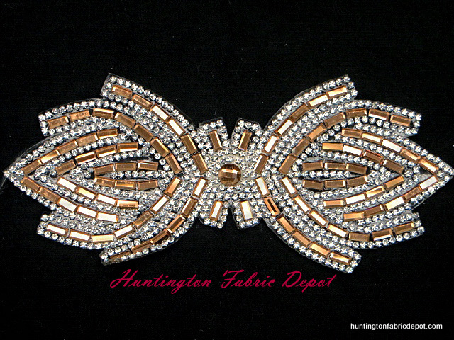 6 inch iron on light brown and clear rhinestone applique