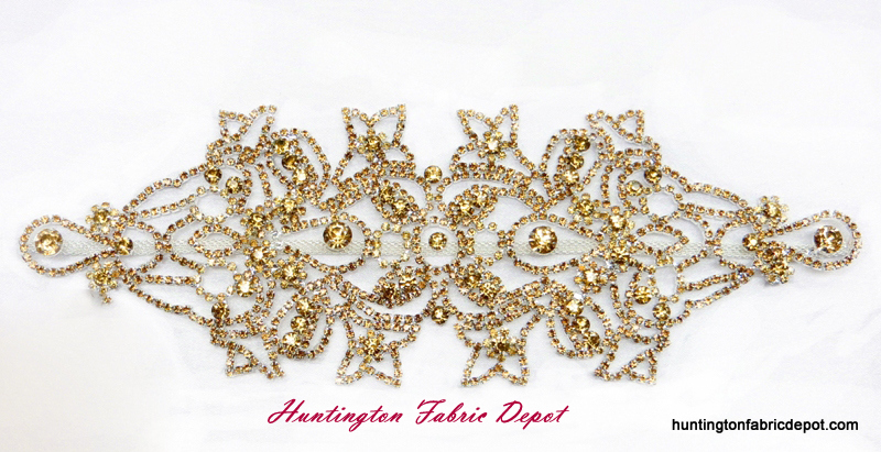 Brilliant Smoked Topaz (Gold) Rhinestone Applique