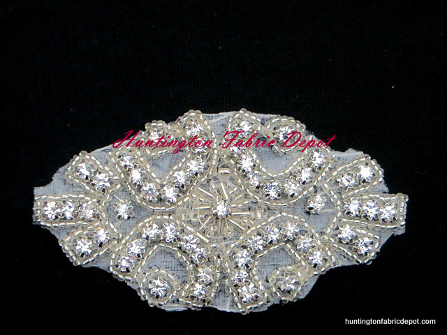3.5-inch Iron-on Beaded Rhinestone Applique