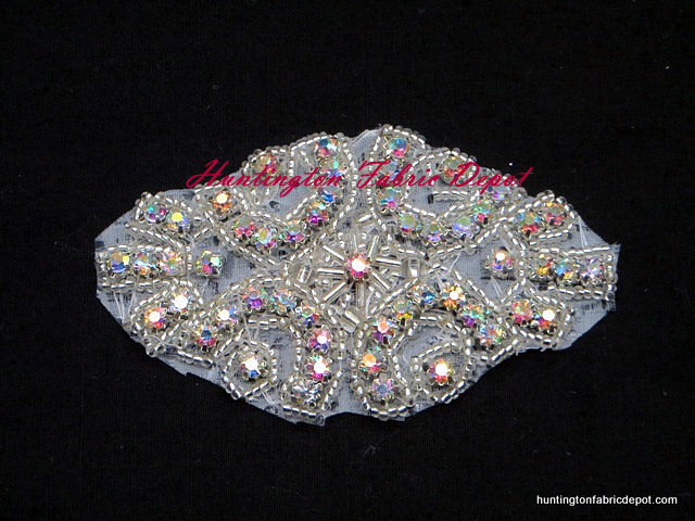 3.5-inch Iron-on Beaded AB Rhinestone Applique