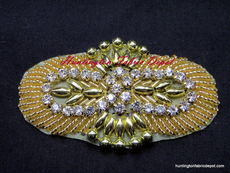 Iron-on Clear Rhinestone and Gold Beaded Applique