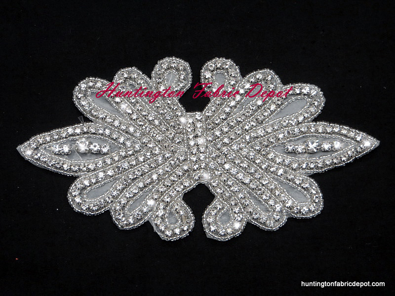 Iron-on Clear Rhinestone and Beaded Applique