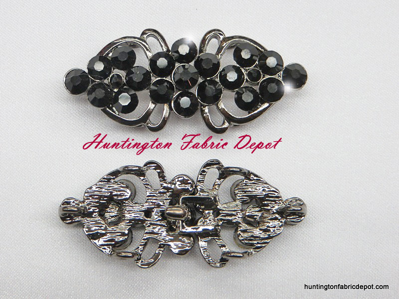 Elegant Black Rhinestone Hook & Eye Closures