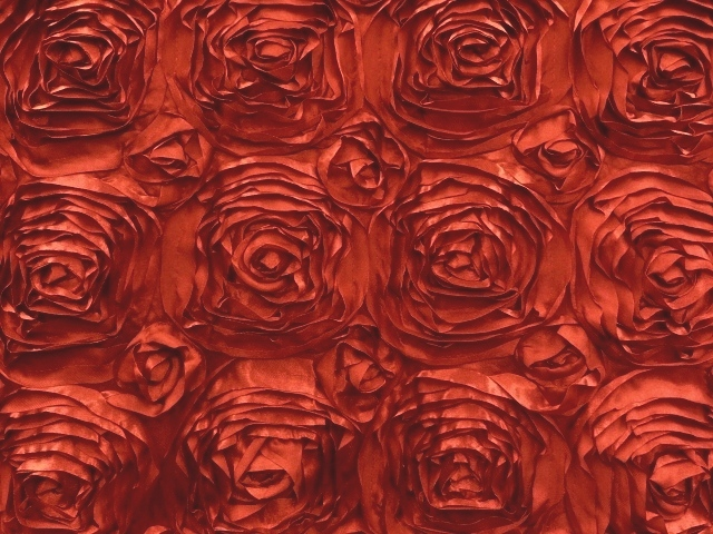 Red Satin Rosette Fabric