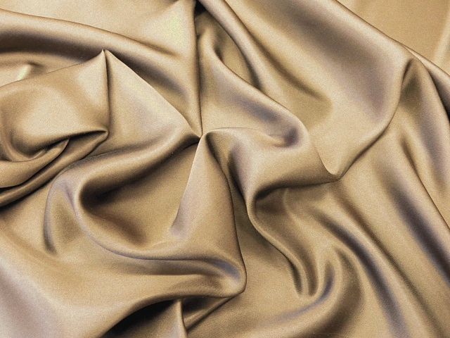 Dark Beige Silk Charmeuse Satin
