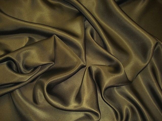 Dark Olive Silk Charmeuse Satin
