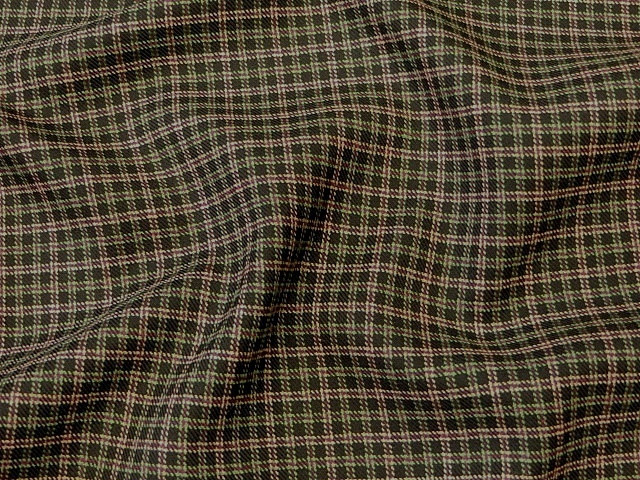 Black Green Plaid/Check Suiting Material