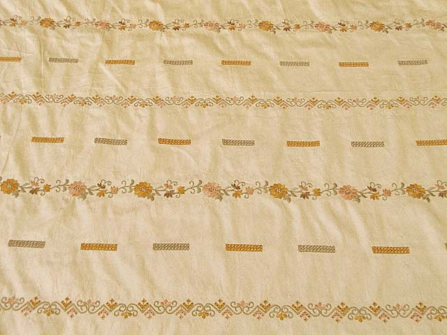 Antique Gold Home Decor Embroidered Silk Fabric