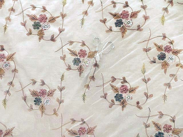 A Rare and Extraordinary Hand Painted Silk Organza Fabric