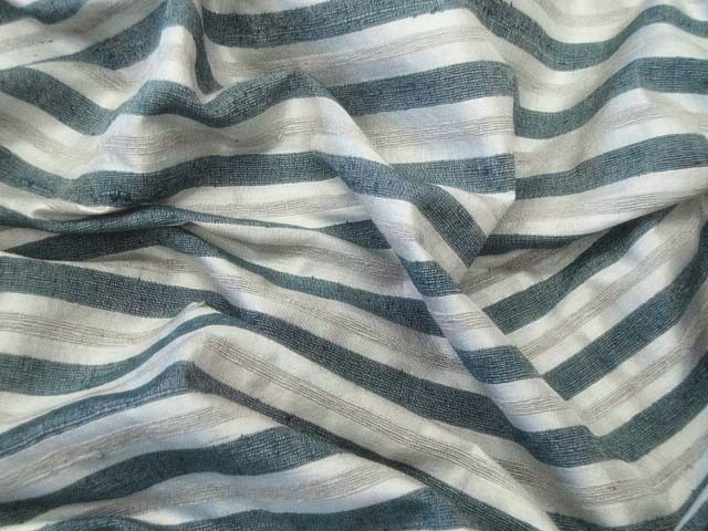 Silver/Teal Blue Striped Dupioni Silk Fabric