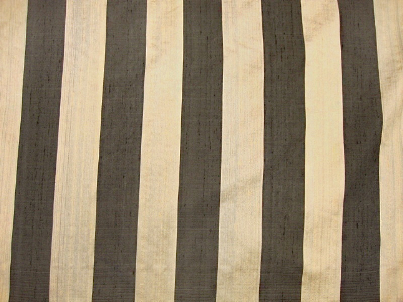 Black/Gold Striped Silk Fabric