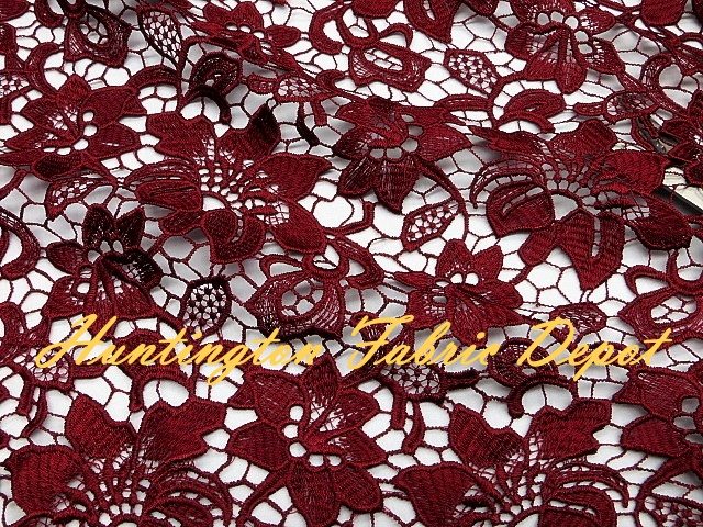 Burgundy Guipure Lace Fabric