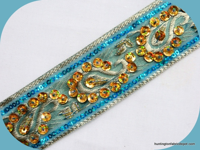Turquoise and Gold Handmade Sequin-Beaded Trim