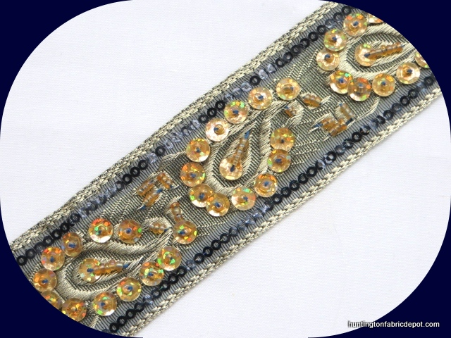 Black and Gold Handmade Sequin-Beaded Trim