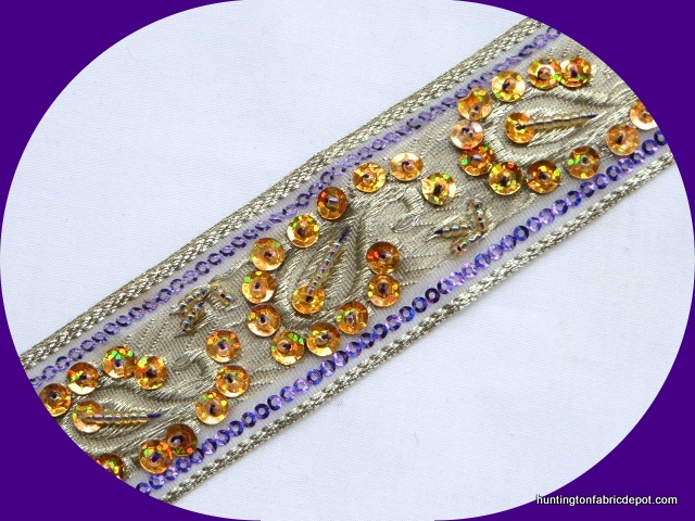 Light Purple and Gold Handmade Sequin-Beaded Trim