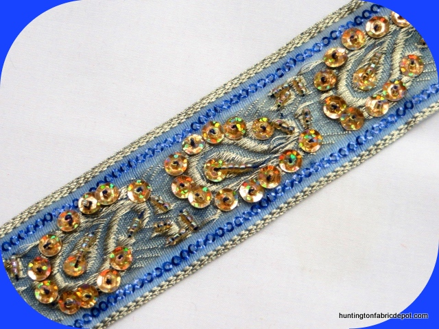 Royal and Gold Handmade Sequin-Beaded Trim