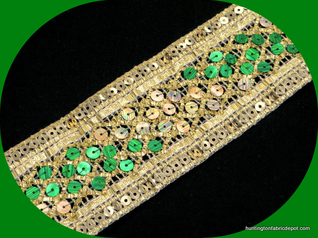 Green and Gold Sequin Trim