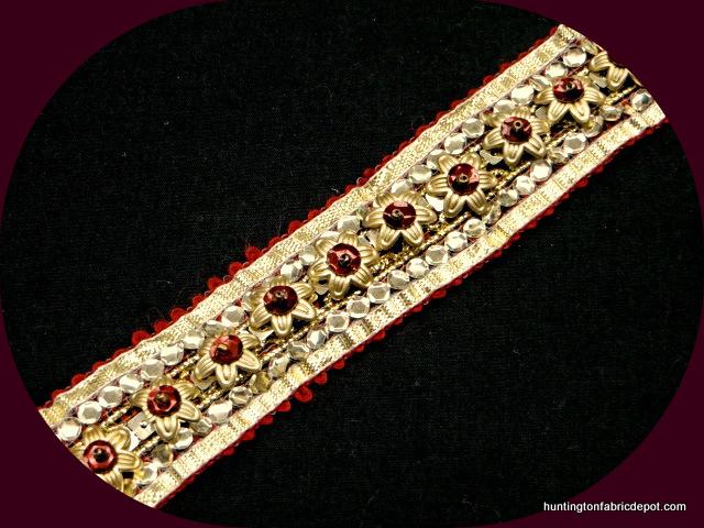 Dark Red and Gold Handmade Sequin-Beaded Trim