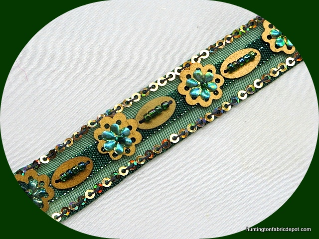 Green and gold Sequin-Beaded Trim