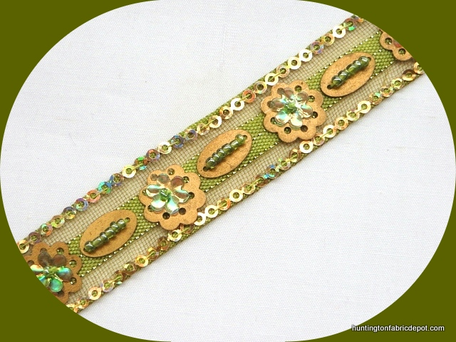 Light Olive and Gold Handmade Sequin-Beaded Trim