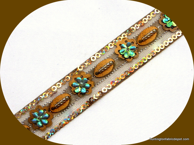 Taupe and Gold Handmade Sequin-Beaded Trim
