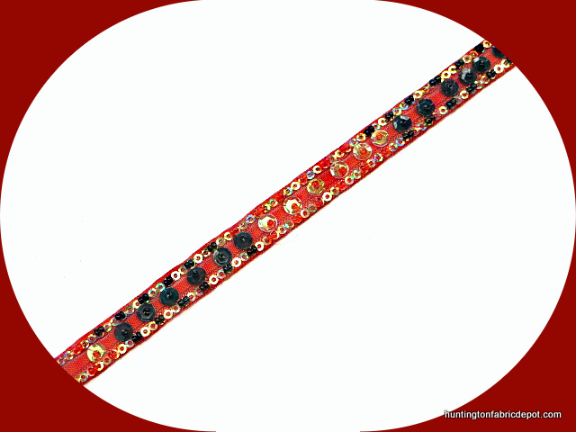 Red, Black and Gold Handmade Sequin-Beaded Trim