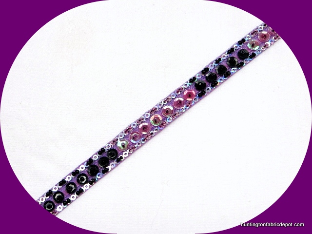 Laurel, Black and Silver Handmade Sequin-Beaded Trim