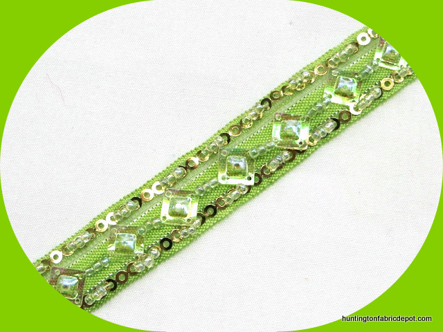 Lime and Gold Handmade Sequin-Beaded Trim