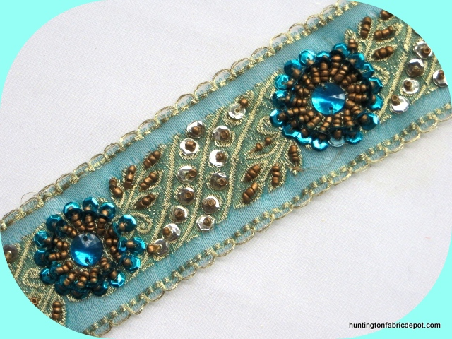 Antique Gold and Turquoise Sequin-Beaded Trim