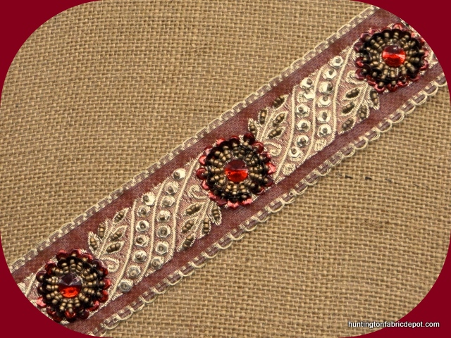 Antique Gold and Dark Red Sequin-Beaded Trim