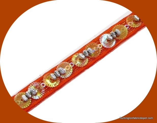 Orange/Silver Beaded-Sequin Trim