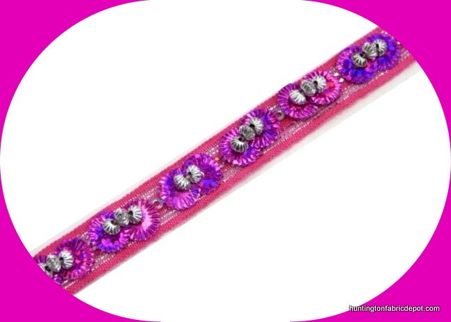 Hot Pink/Silver Beaded-Sequin Trim