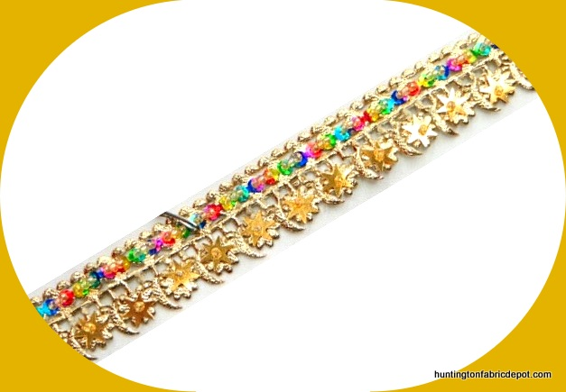 Handmade Gold Beads and Multi Colored Sequins Trim
