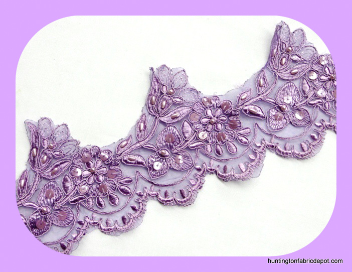 Lavender Embroidered Beaded/Sequins Venise Lace Trim