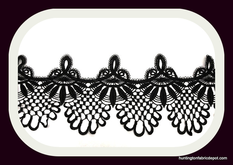 "Black 7"" Wide Guipure Lace Trim"