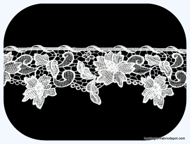 "White 5"" Wide Guipure Lace Trim"