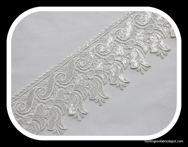 White Scalloped Edge Guipure Lace Trim with Sequins